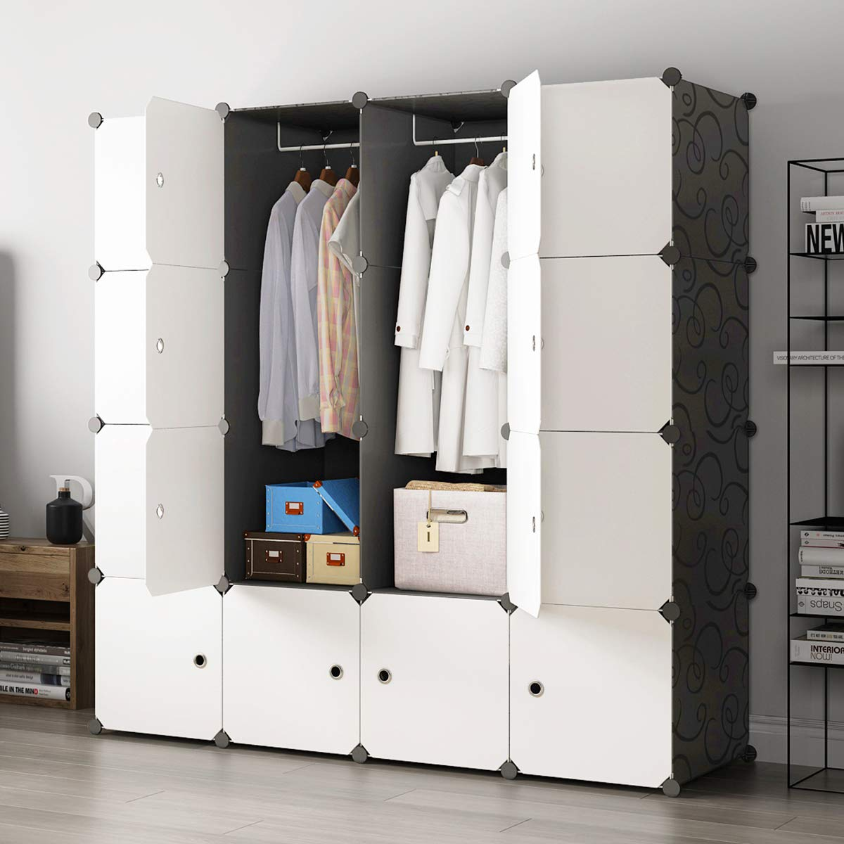 KOUSI Portable Closet Clothes Wardrobe Bedroom Armoire Storage Organizer with Doors, Capacious & Sturdy, Black, 10 Cubes+2 Hanging Sections