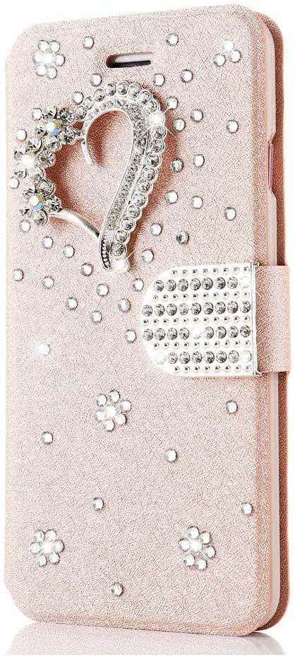 STENES Bling Wallet Phone Case Compatible with Samsung Galaxy Note 20 Ultra - Stylish - 3D Handmade Pretty Heart Design Leather Cover Case with Cable Protector [4 Pack] - Pink