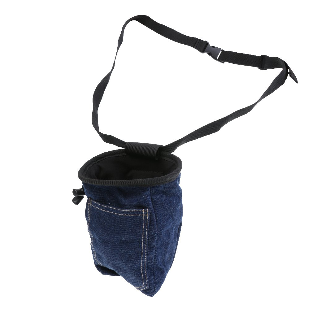 MagiDeal Bolsa de Tiza de Roca con Cinturón Ajustable de Hombro Bolsillo con Cordón y Cremallera Accesorio de Escalada