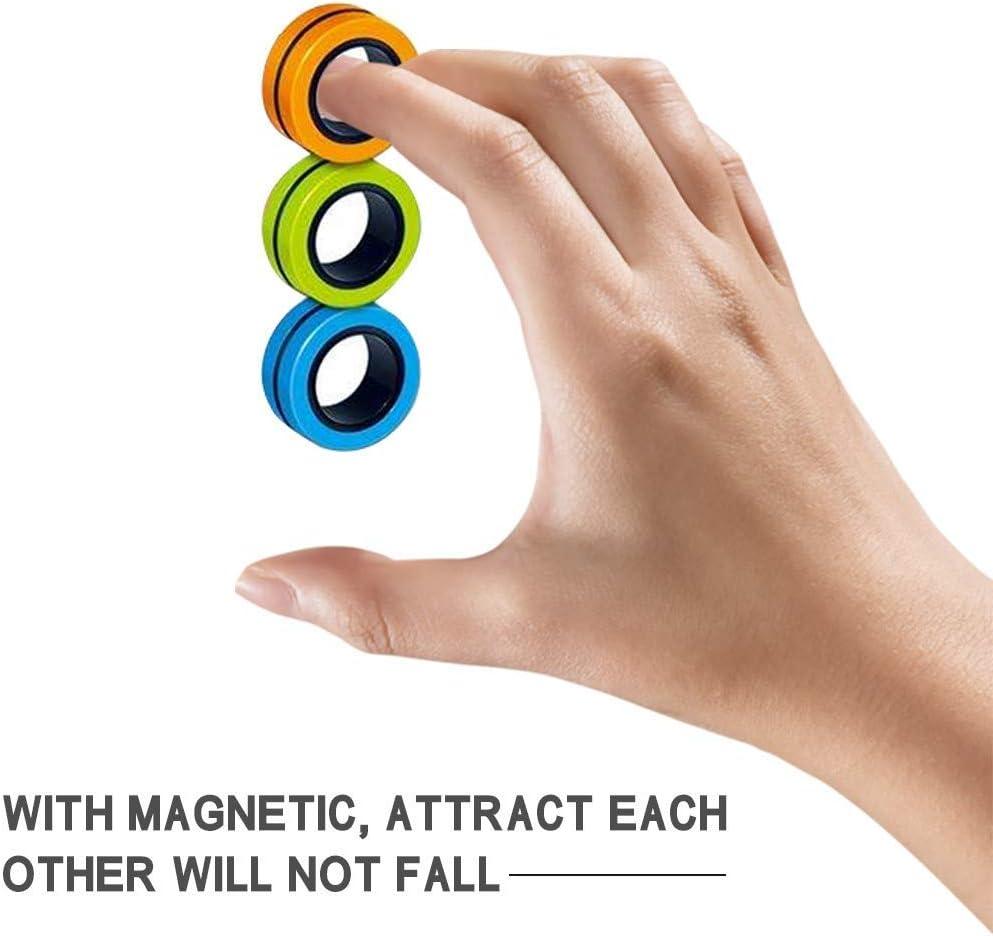 Stress Relief Fidget Sensory Toys Set N//C 3PCS Anti-Stress Finger Magnetic Rings,Finger Fingears Magnetic Rings for Anxiety Relief Focus Toys Magnetic Bracelet Ring Unzip Toy Magical Ring Props