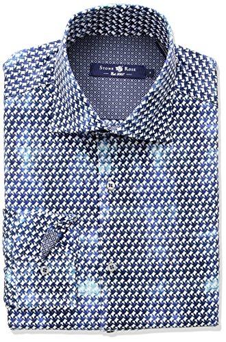 Origami Print Dress - Stone Rose Men's Long Sleeve Origami Fx Print Shirt, Blue, Extra Large