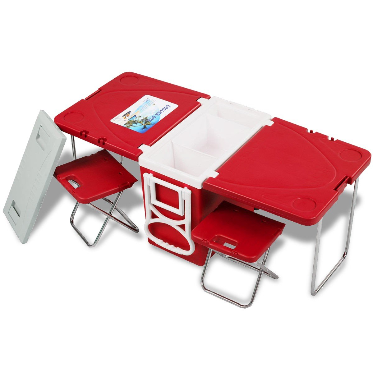 CHOOSEandBUY Multi Functional Rolling Picnic Cooler w/Table & 2 Chairs - RED