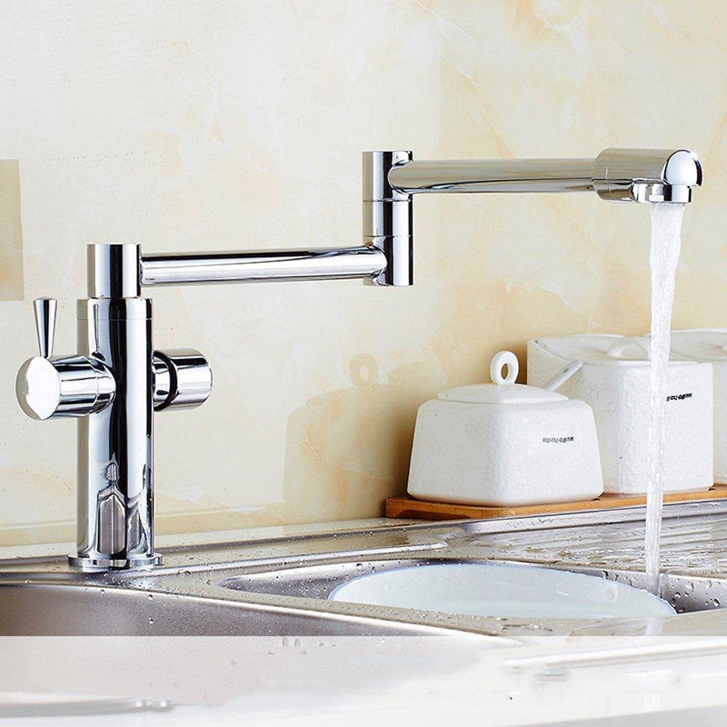 Cqq grifo Oro estilo europeo Hortalizas lavabo grifo rotació n grifo plegable cobre caliente y frí a escalable grifo ( Color : Oro )
