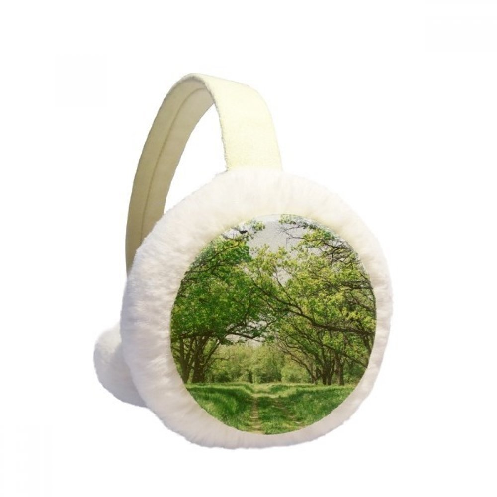 Green Forestry Nature Science Scenery Winter Earmuffs Ear Warmers Faux Fur Foldable Plush Outdoor Gift