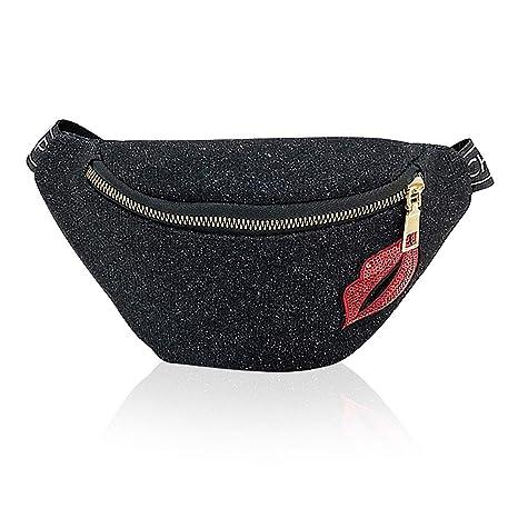 2aa3c5092b8 Cool Black Women Belt Bag Waist Pouch Bum Pack Purse Girls Hip Bag Fancy  Travel Fanny Pack