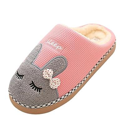 Damen Katze Pantoffeln, Herren winter Warme Baumwolle Hausschuhe mit Cartoon Rutschfeste Kuschelige Home Slippers, Rosa, 38/39 EU