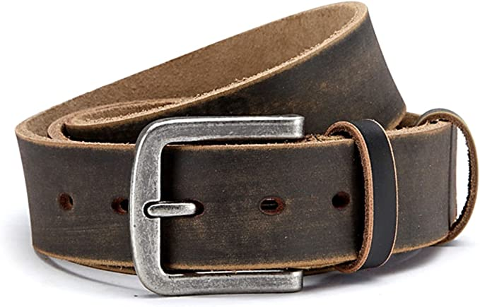 Men jeans belt 5 cm wide buffalo leather belt with seam at the edge