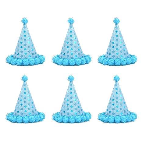 Amosfun - 6 Gorros de Papel de cumpleaños para niños (Color ...