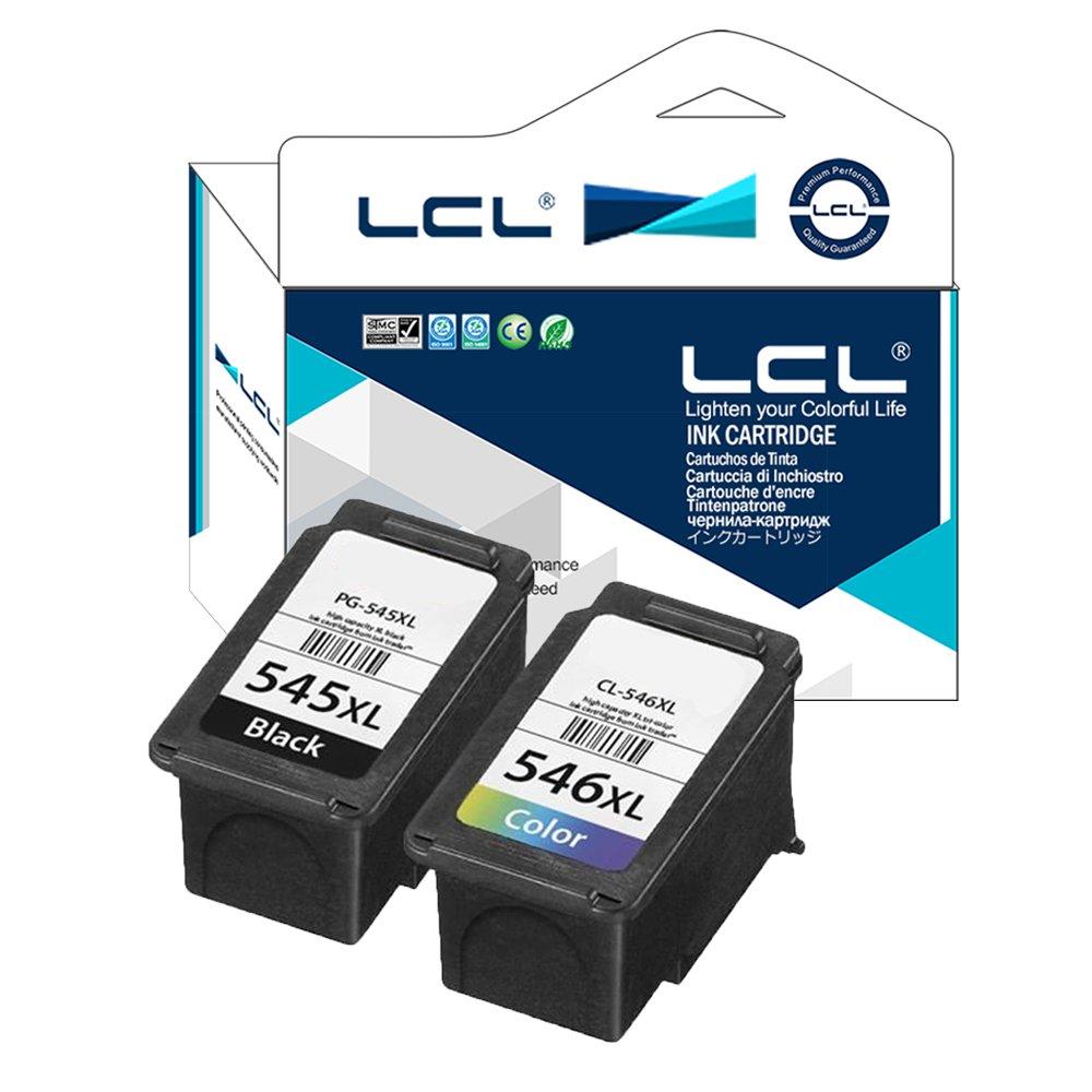 LCL Cartucho de Tinta Remanufacturado PG545 PG545XL PG-545XL CL546 CL546XL CL-546XL (1Negro 1Color) Reemplazo para Canon IP2850 MG2550 MG2500 Series ...