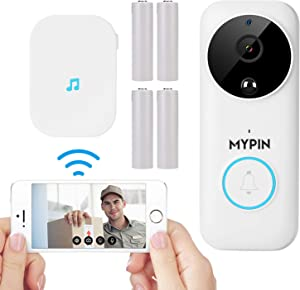 Wireless Doorbell Camera, 1080P WiFi Doorbell for Home Security with Motion Detection, Night Vision, 2-Way Audio, Cloud/SD card Storage with Indoor Chime and 30° L/R Wall Plate