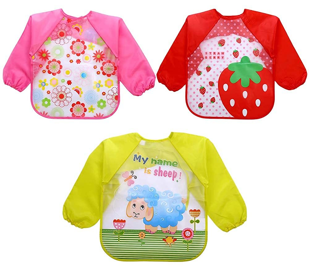Baby Toddler 6 Pcs Toddler Baby Waterproof Sleeved Bib 12-36 Months for Infant