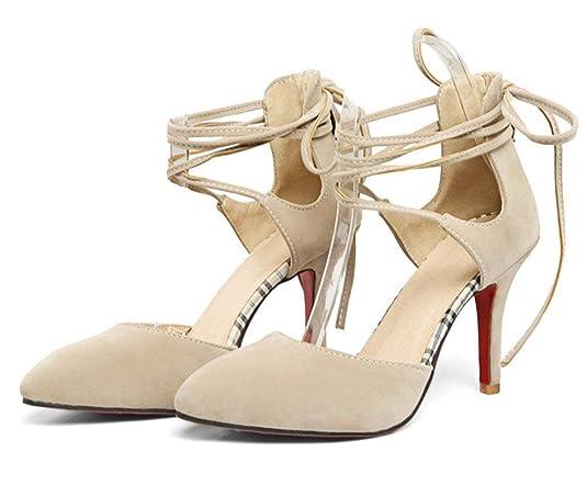 YE Chaussure Escarpin Lacet Femme Bout Pointus Talon Haut Aiguille Sexy   Amazon.fr  Chaussures et Sacs 24631ea62e3e