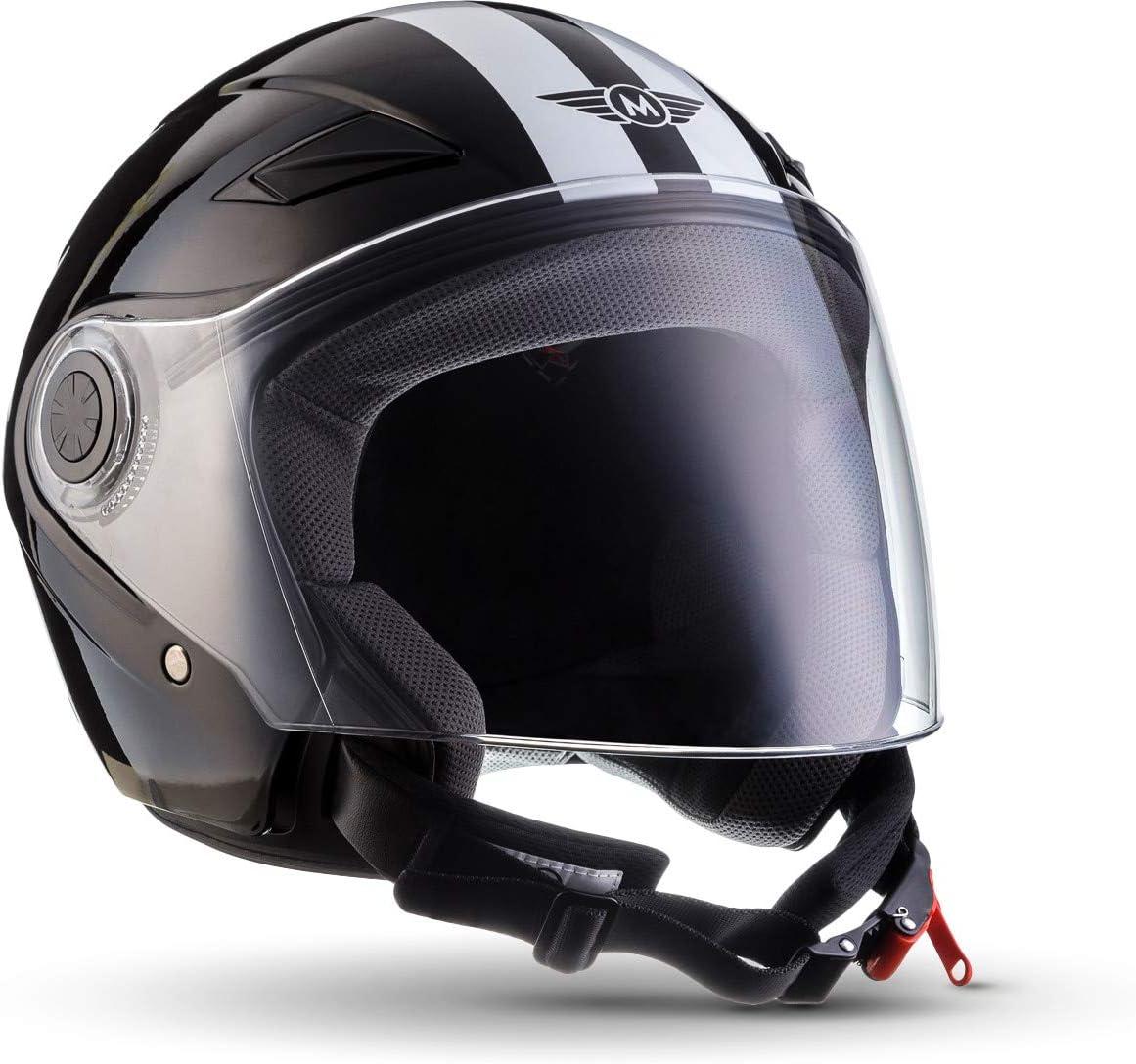 MOTO U52 - Racing black - Casco Moto Demi-Jet con Visera Vespa Scooter Piloto Jet negro - S (55-56cm)