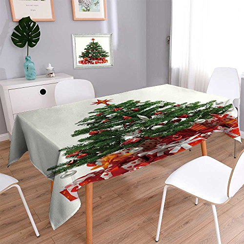 (PRUNUSHOME Square Tablecloth Christmas tree with heap of red gift boxes decorated with satin ribbon isolated Perfect for Spring, SuAMMer, Indoor, Outdoor Picnics or Everyday Use/50W x 50L)