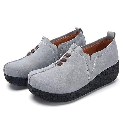 Qiusa Zapatos de Mujer de Gran tamaño de Cuero con tacón de cuña Casaul Mocasines (