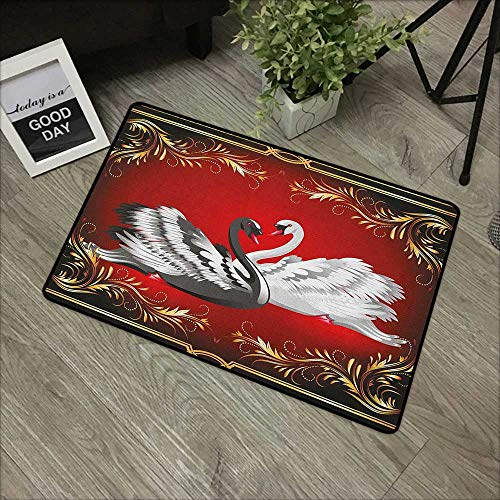 (Buck Haggai Bathroom Entry Rugs Animal,Black and White Swan Couple Ornamental Framework Romance Grace Tenderness Purity, Multicolor,for Indoor/Outdoor/Front Door/Shower Bathroom 35