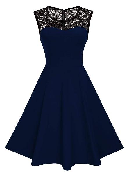Emma   Giovanni - Vestiti Eleganti con collo di pizzo - Donna (Blu bbf5e1728a2