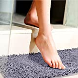 Bath Mat, 32 x 20 Ultra-Thick Microfiber Plush Bathroom Rug with Non-Slip SBR Rubber Backing by House Again, Better Anti-slip Capacity Super Soft Absorbent Quick-drying Machine Washable, Gray