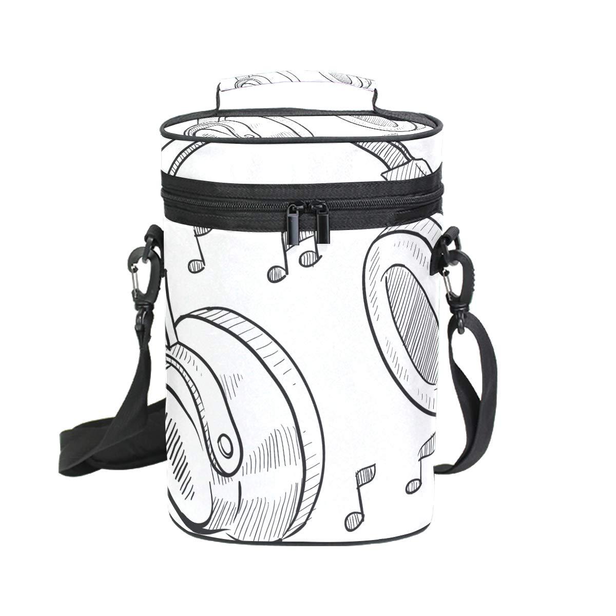 COOSUN Music Casque de transport isotherme croquis avec poignée et bandoulière réglable