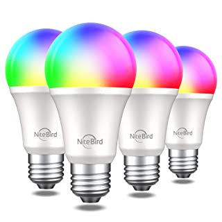Smart Light Bulb Works with Alexa Google Home Siri, NiteBird A19 E26 WiFi Multicolor Dimmable LED Lights Bulbs, 2700k + RGB, 75W Equivalent, No Hub Required, 4 Pack