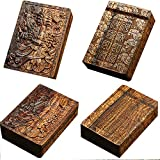 CTO Cigarette Box, Mahogany, Hollow, Solid Wood Cigarette Case, Smoking Set, Four Sides, Carved, Pattern, Capacity 20,E,Box