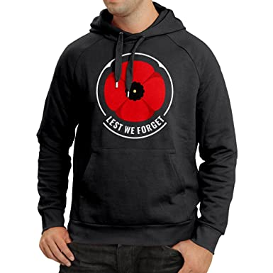 Hoodie Remembrance Day Symbol - Red Poppy! Lest We Forget! (Small Black  Multi