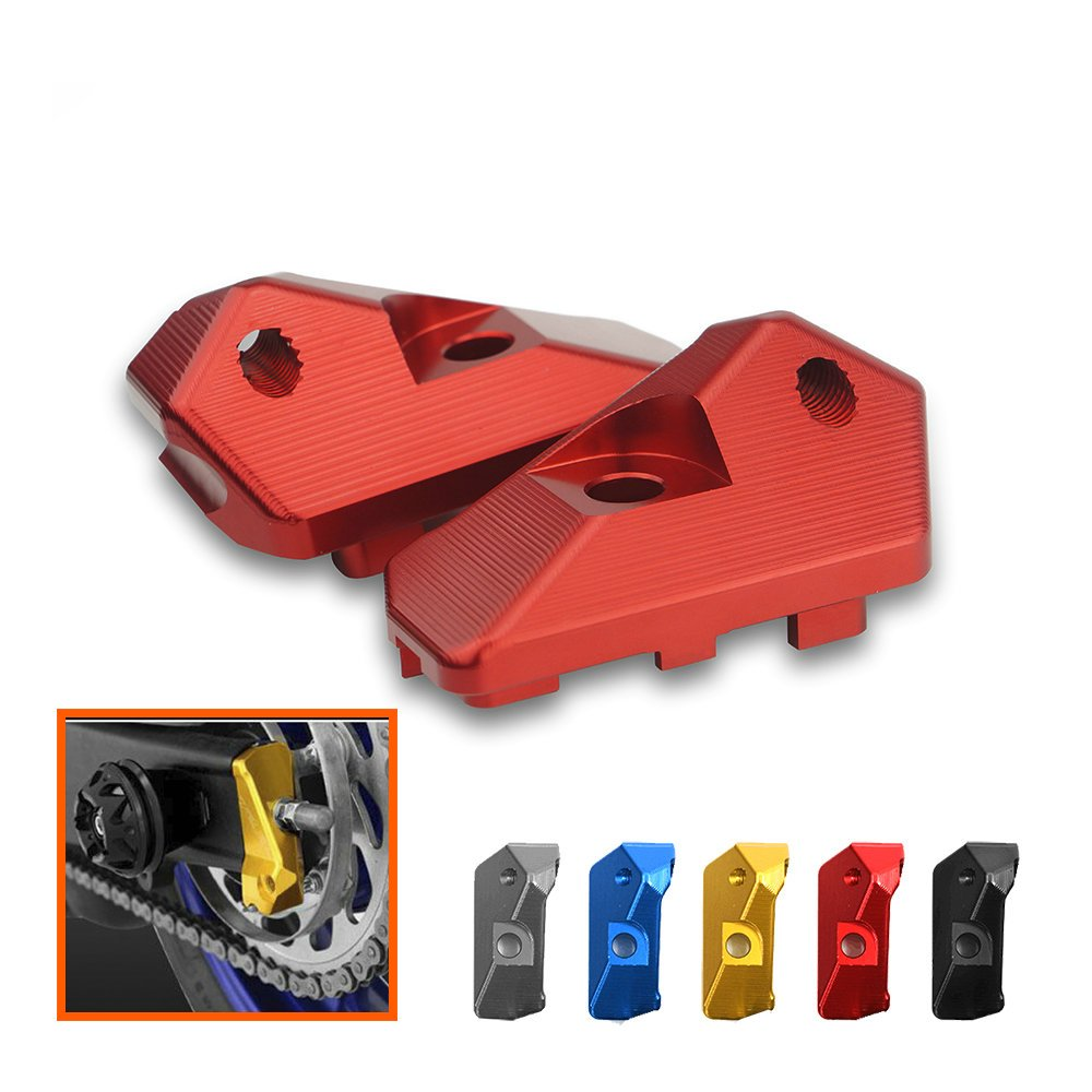 Heinmo Motorcycle CNC Rear Axle Spindle Chain Adjuster Blocks for Yamaha YZF R3 2015-2017 R3 ABS 2017 R25 2013-2017(B section-black)