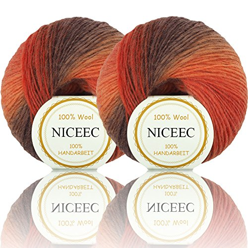 2 Skeins Rainbow Soft Yarn 100% Wool Gradient Multi Color Yarn for Crocheting Knit Total Length 180m2(196yds2,50g2)-3