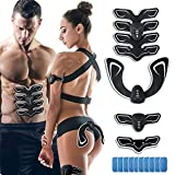 Muscle Toner Abs Stimulator EMS Abdominal Sexy Buttocks,Hip training Slimming Fitness Exerciser Workout Equipment for Men & Women 2018 New version+ FREE Butterfly Massager + 10 Extra Gel Pads