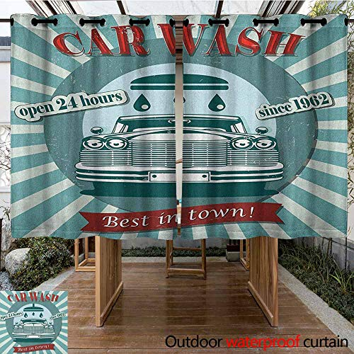 AndyTours Outdoor Blackout Curtain,Retro,Vintage Graphic Design for a Car Wash Sign Commercial with Aged Classic Retro Arsty,for Porch&Beach&Patio,K183C115 Red Teal