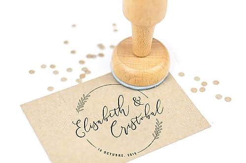 Sello Caucho Boda Personalizado, Sello de Madera con tampón de tinta, Sello Boda | Sello Boda Moderno: Amazon.es: Handmade