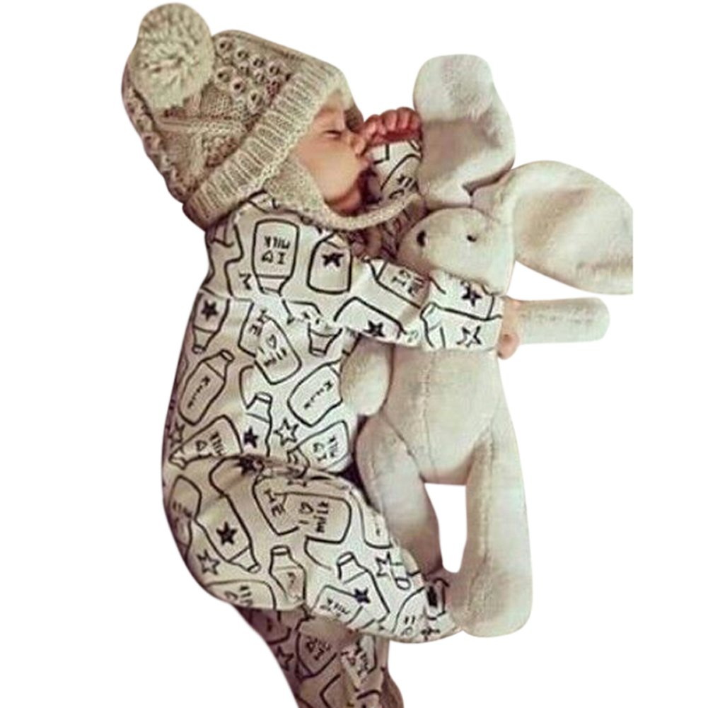 EITC Newborn Boys Girls Romper Lovely Long Sleeves Beige Bottle Printed Jumpsuit Outfits 0-24Months