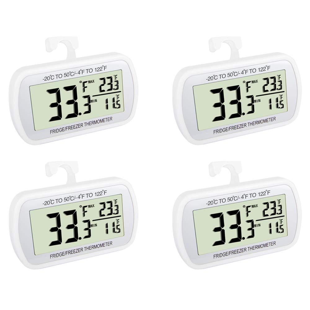 Waterproof Refrigerator Fridge Thermometer, Digital Freezer Room Thermometer, Max/Min Record Function Large LCD Screen and Magnetic back for Kitchen, Home, Restaurants (4 pack) by VOULOIR