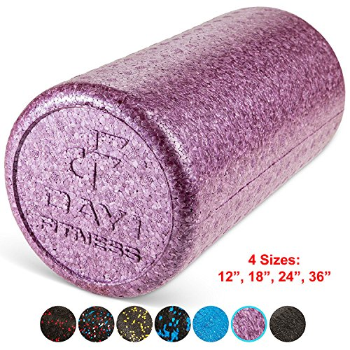 Day 1 Fitness High Density Muscle Foam Rollers Sports Massage Rollers for Stretching, Physical Therapy, Deep Tissue and Myofascial Release – for Exercise and Pain Relief – Solid Purple, 12″ Review