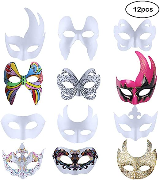 Halloween DIY Blank Masquerade Costume Ball Prom Party Mask