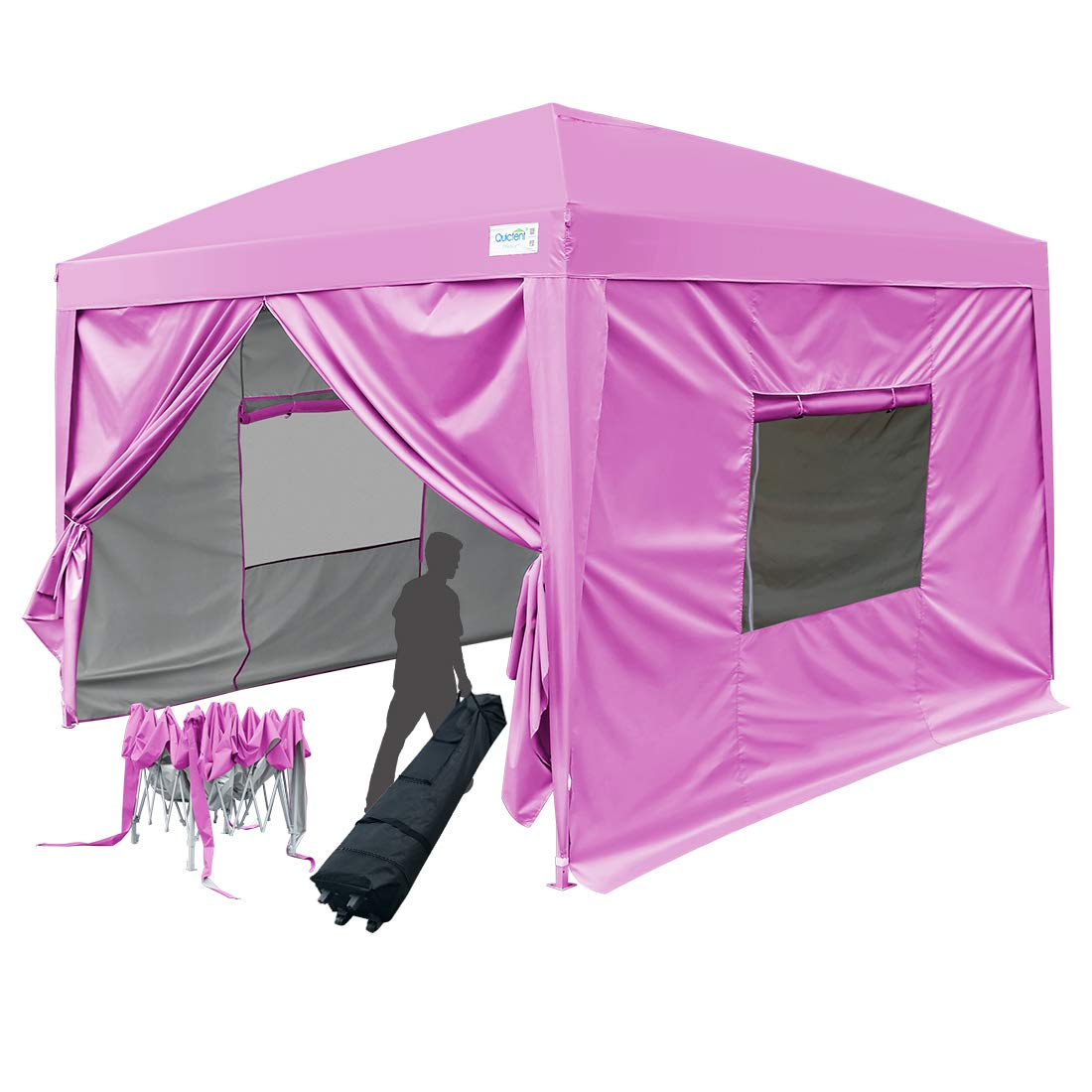 Quictent Upgraded Privacy 8×8 EZ Pop Up Canopy Tent Instant Folding Party Tent with Sides and Roller Bag Waterproof -Pink