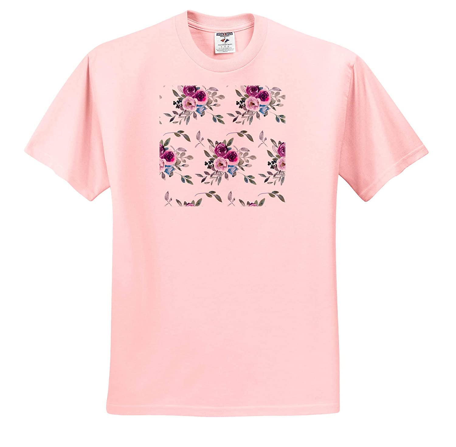Adult T-Shirt XL 3dRose Anne Marie Baugh Patterns ts/_316235 Pretty Purple Image of Watercolor Floral Pattern