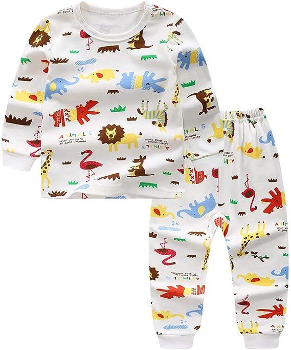 Miyanuby Pijamas para Niños Niñas Patrón de Dibujos Animados Manga Larga Ropa de Algodón Pjs Ropa de Dormir Ropa para Niños Niñas Bebé 1-12 años