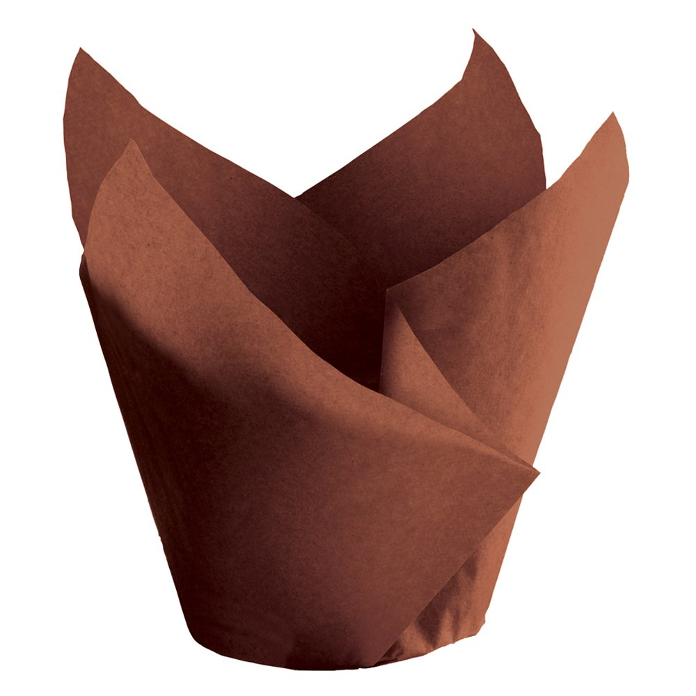 Hoffmaster 611119 Tulip Cup Cupcake Wrapper/Baking Cup, 2-1/4'' Diameter x 4'' Height, Large, Chocolate (Case of 1000)
