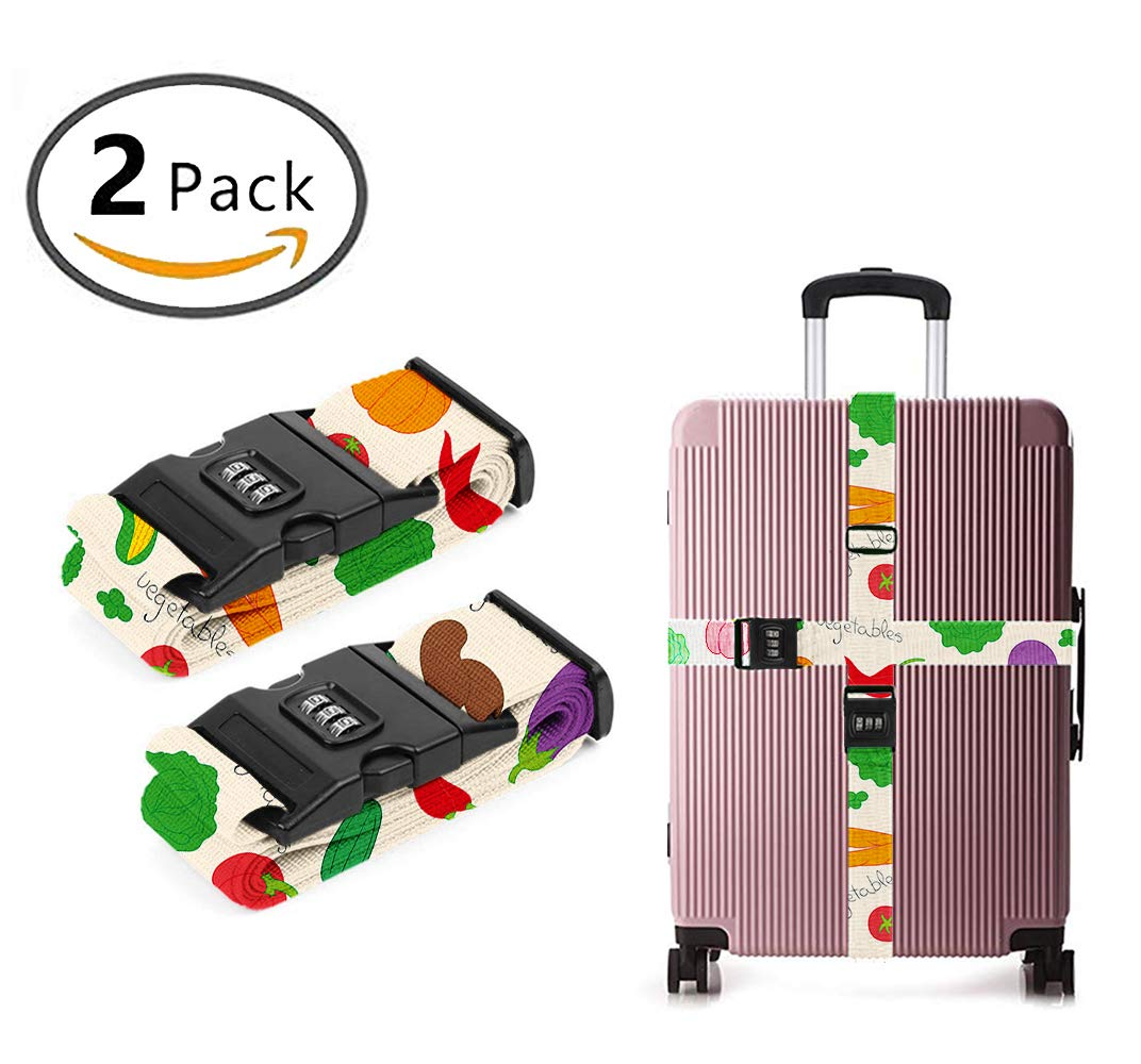 ART TANG 3 Dial Combination Lock Luggage Strap Colored Vegetables [Set of 2]