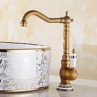 Traditionnel Mitigeur Évier Bec Pivotant à 360°avec bec haut de lavabo bain Robinet Poignée en céramique pour lavabo Levier