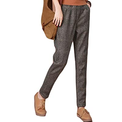 Cruiize Womens Mid Waist Plaid Print Thick Fleece Trouser Long Pants