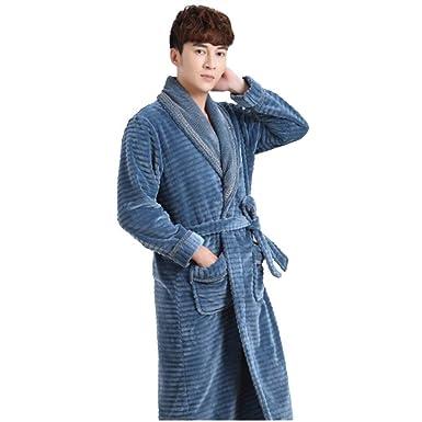 moxin Men Towelling Flannel Robe Terry Towel Bathrobe Dressing Gown ...