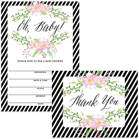 Baby Shower Invites (100) & Thank You Cards (100) Matching Set Envelopes Included, Large Party Mom-to-Be Neutral Boy Girl Gender 5 x 7 Fill-in Invitations & Folded Thank You Notes Best Value Pair
