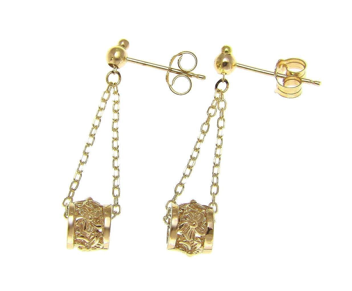 14K solid yellow gold chain dangle Hawaiian plumeria flower barrel earrings