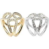 Baoblaze 2 Pieces Elegant Crystal Scarf Ring Clip Buckle Scarf Holder Women Bridal Jewelry Accessories