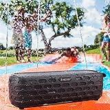 Solar Bluetooth Speaker - [2017 Gift Choice] ICHECKEY IPX5 Waterproof Solar Powered Portable Outdoor Wireless Speaker for Beach, Shower & Home - Black