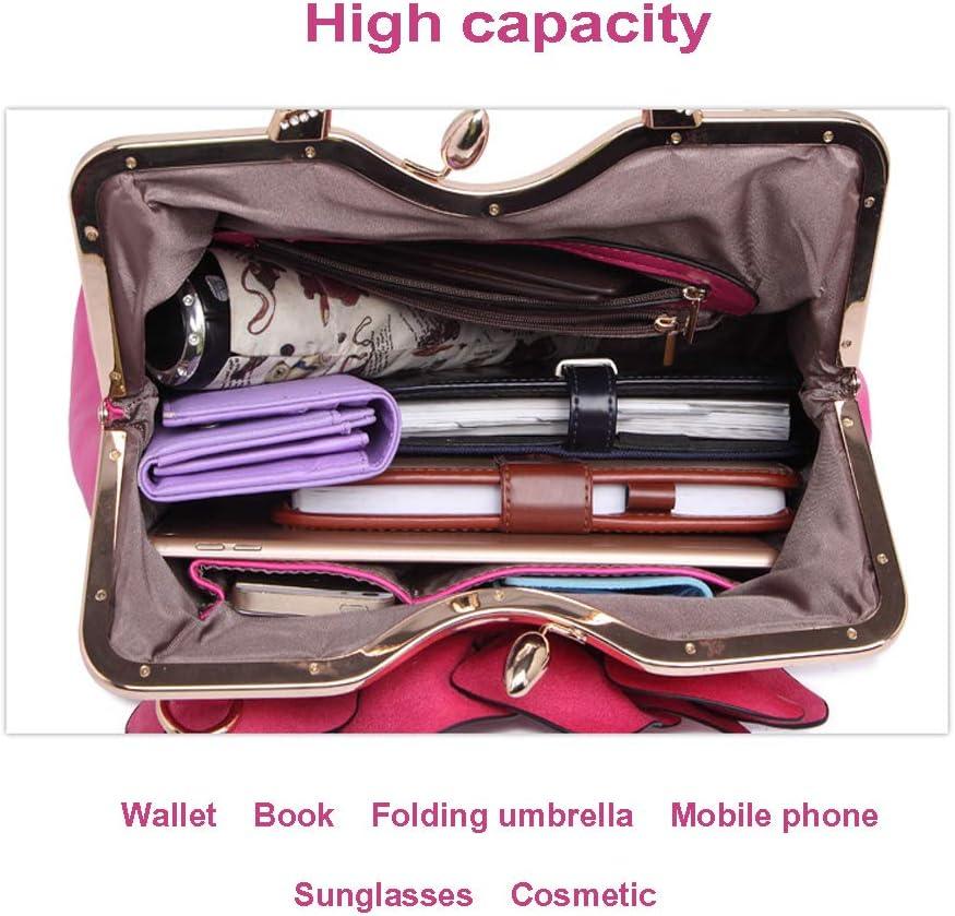FFYUYI Tote PU delle Donne Eleganti Fiori Rosa di Modo, Grande capacità di Crossbody Bag,F H