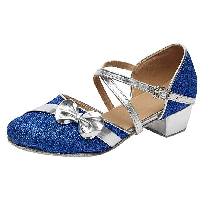 a15f1b583 Zapatos Niña Princesa - Talla 24-35 - Zapatos Tacon de Fiesta - Disfraz  Sandalias de Vestir - Zapatos de Baile Latino Satén Ballroom Danza   Amazon.es  Ropa ...