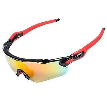 Fahrradbrille,Exclusky Sportbrille Sonnenbrille mit 5 Wechselgläsern UV400 für Frauen und Männer (weiß Rot)